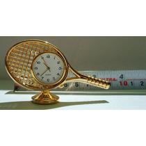 Mini Reloj De Escritorio Baño De Oro Raqueta De Tenis Pm0