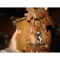 Hermoso Reloj Cucu Antiguo Aleman Madera Selva Negra Regula
