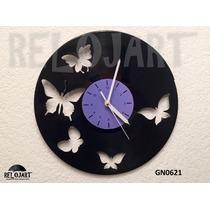 Reloj En Disco De Vinil Mariposas - Increible Y Original