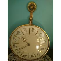 Antiguo Reloj De Pared Aleman Kienzel De Bronce Zodiaco
