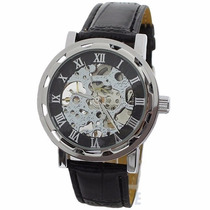 Reloj Caballero Cuerda Skeleton Transparente Acero Sport