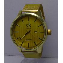Reloj Hombre Calvin Klein Ck Excelente Dorado Regalo