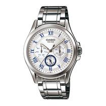 Relojes Casio Análogo Mtp-e301 Blanco Azul Hombre Retro Vbf