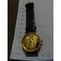 Reloj Moneda , De Cuarzo De Caballero Muy Bonito