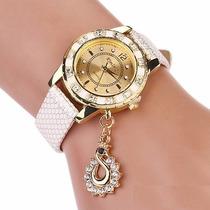 Reloj Dama Cisne Piedras Bonito Mama Novia Elegante Dorado