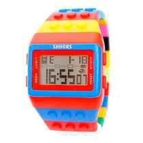Reloj Hombre Mujer Alarma Lego Moda Con Luz Multicolor 02