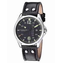 Reloj Stuhrling Aviator Correa Piel Negro Acero 699.01