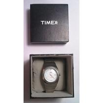 Timex Indiglo Reloj De Pulso, Acero Inoxidable, Blanco.