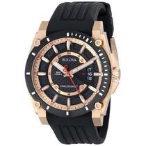 Reloj Bulova Precisionist Acero Caucho Negro Dorado 98b152