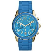 Reloj Dama Michael Kors Mercer Azul Turquesa Silicón Mk5891