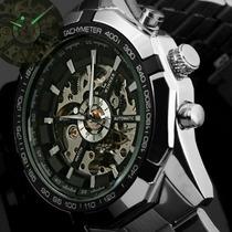 Reloj Para Hombre Acero Luxury Mecanismo Visible