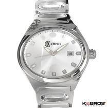 Elegante Reloj K & Bros Para Hombre En Acero Inoxidable2 Sp0