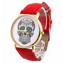 Reloj De Cuero Rojo Calavera