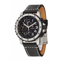 Reloj Victorinox Alpnach Chrono A. Inox Piel Negra 241195