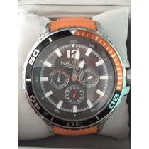 Reloj Nautica Wristwatch Naranja Con Caja Silicon