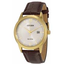 Reloj Citizen Eco-drive Acero Dorado Piel Café Aw1232-04a