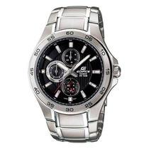 Reloj Stainless Steel Edifice Quartz Black Dial Day Date