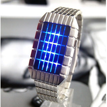 Reloj Satelite Led Azul Lujo Digital Binario Moderno Luz