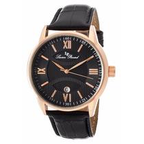 Reloj Lucien Piccard Clariden Dorado Piel Negro 11576-rg-01