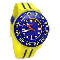 Swatch Playero Azul Y Amarilla Silicona Mens Watch Suuj400
