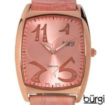 Reloj Burgi / Suizo / Piel / Diamantes / Dama / Envio $0 Flr