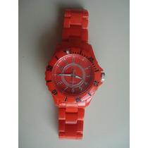 Reloj Rojo Unisex Plastico De Pila