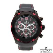 Reloj Croton Hombre, Acero Inoxidable Y Piel, Cronografo Rgl