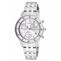 Reloj Bulova Diamond Cronografo Acero Inox Plateado 96r165