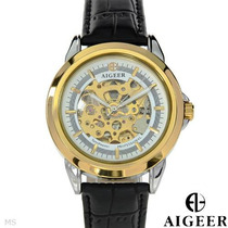 Reloj Algeer Automático, Hombre, Acero Inoxidable Piel 4 Flr