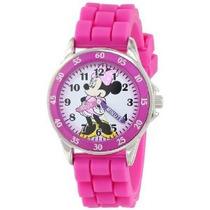Mn1157 Minnie Mouse Reloj Rosa De Disney Para Niños Con La G