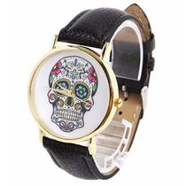 Reloj De Cuero Negro Calavera