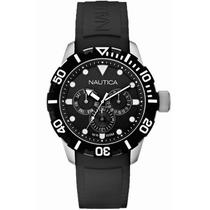 Reloj Nautica Acero Caucho Fechador 3 Diales Wr100m Precioso