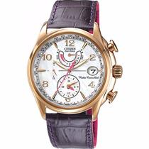 Reloj Citizen Eco-drive Atomico Piel Morada Mujer Fc0003-00d