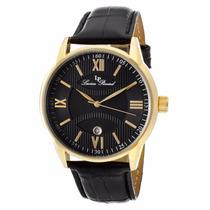 Reloj Lucien Piccard Clariden Dorado Piel Negro 11576-yg-01