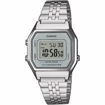 Reloj Casio La680 Vintage Dama Mujer Plata Luz Acero Origina