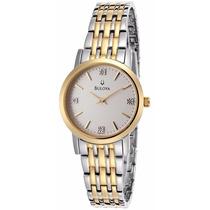Reloj Bulova Diamond Accented Acero Dorado Mujer 98p115