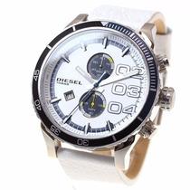Reloj Diesel Blanco Azul Piel Acero Casual Hombre Cronografo