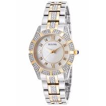 Reloj Bulova Diamond Case Acero Dorado Mujer 98l135