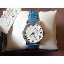 Reloj Tommy Hilfiger De Piel Azul Dama Estuche Y Documentaci