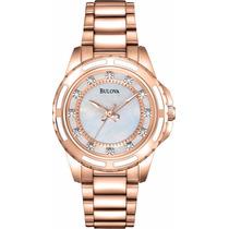 Reloj Bulova Mother Of Pearl Tono Oro Rosado Mujer 98p141