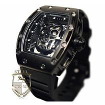 Reloj Rm Calavera Skull Para Hombre Caballero Negro Dorado