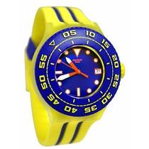 Reloj Swatch Swatch Playero Azul Y Amarilla