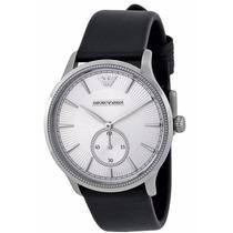 Reloj Emporio Armani Clásico Acero Piel Negra Ar1797