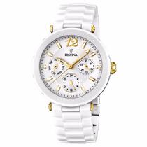Reloj Festina F16641/3 Con Eslabones Brillantes Blanco Y Dor