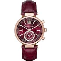 Reloj Michel Kors Dama Borgoña Mk 2426 Vino Envío Gratis