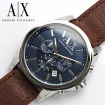 Reloj Ax Armani Exchange Para Hombre Azul Café Piel Nuevo