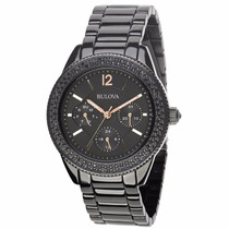 Reloj Bulova Crystal Acero Negro 98n105