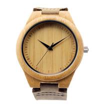 Relojes De Madera Bamboo Y Cuero Excelente Calidad