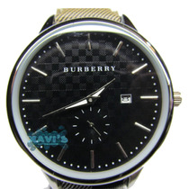 Reloj Burberry Negro Correa De Cuero