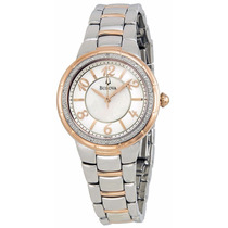 Reloj Bulova Diamond Case Blanco Acero Mujer 98r162